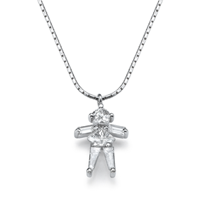 18k White Gold Baguette Round and Triangle Cut Diamonds Daughter Pendant with chain (0.52 Ct., G Color, VVS1 Clarity)