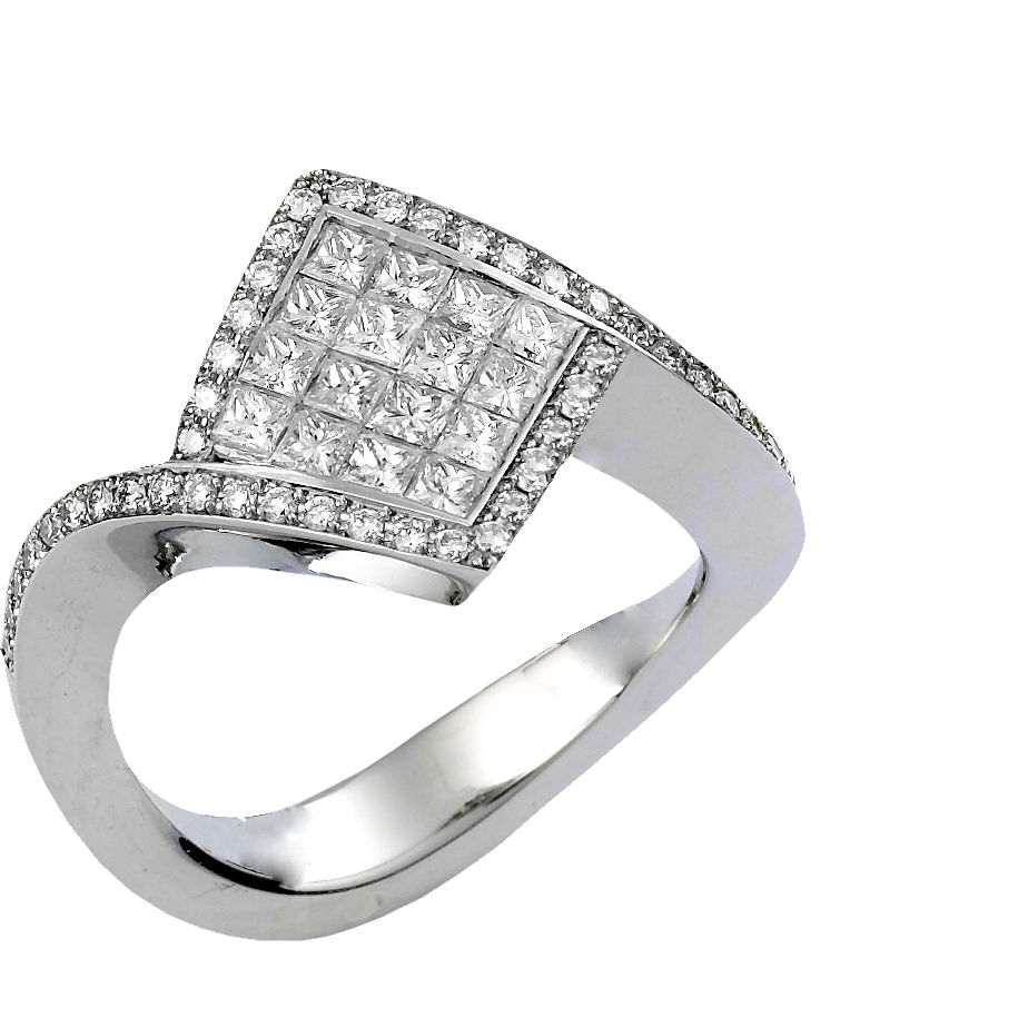 the invisible set on cut setting princess gold invisibly diamond ring white spotlight