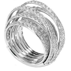 White Gold Multi-band Ring, 18K, 3.22Ct Diamonds