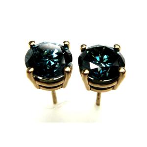 Blue Fancy Color Stud Earrings, 2.25 Carat