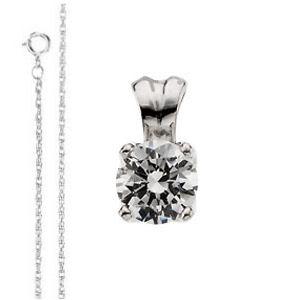 Diamond Solitaire Pendant, 0.45 Carat, E Color, VS2 Clarity