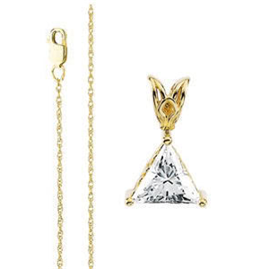 Triangle Diamond Pendant on 14K Yellow Gold Chain, 1.01Ct