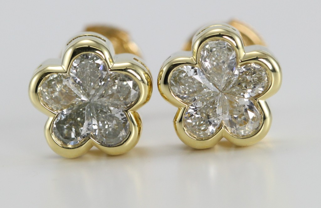 14K Yellow Gold Invisible Setting Diamond Earrings with 10 M – N Color, VS Clarity Pear Cut Diamonds Weighing 0.73 Carats
