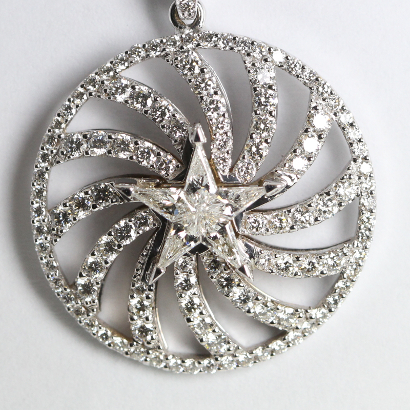 Kite Cut Diamond Star & Pave Pendant (1.52 Ct, H Color, VS Clarity) in 18k White Gold Invisible Setting