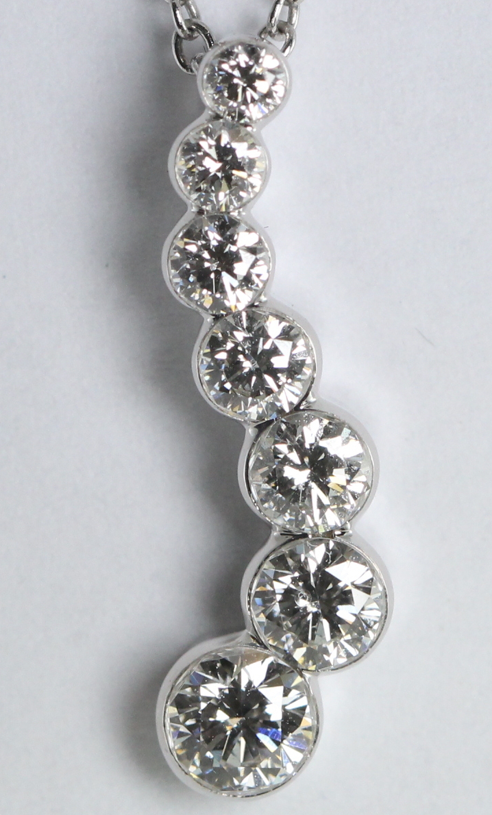 7 Stone Diamond Pendant (Round Diamonds, 0.8 Ct, G Color, VS Clarity) in 18k White Gold Invisible Setting