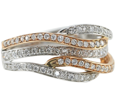 14K Rose & White Gold Two Tone Round Cut Diamond Anniversary Ring (0.62 Ct, G-H Color, SI2-SI3 Clarity)