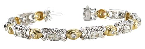 14k Two Tone Gold Bezel Setting Limited Edition 5.1 Ct Oval Millennial Sunrise & Round Cut Diamond Link Bracelet (I-J Color, SI-VS Clarity)