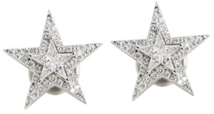 18k White Gold Kite Cut Diamond Invisible Setting & Pave Star Shaped Earrings (0.62 Ct, G Color, VS Clarity)