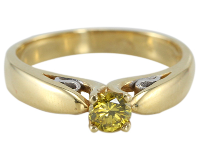 18K Two Tone White & Yellow Gold Color Irradiated Fancy Yellowish Green Round Diamond Solitaire Engagement Ring, VS2 Clarity