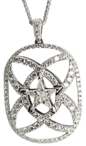 Invisible Setting Star & Pave Pendant set in 18k White Gold with Kite Cut Diamonds (1.29 Ct, G Color, VS Clarity)