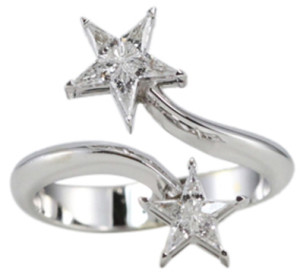 18k White Gold Kite Cut Invisible Setting Double Diamond Star Ring (0.56 Ct, G Color, VS Clarity)