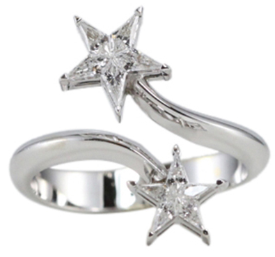 18k White Gold Kite Cut Invisible Setting Double Star Diamond Ring (0.56 Ct, G Color, VS Clarity)