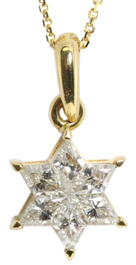 Rhombus Cut Invisible Setting Diamond Star Of David Pendant (0.59 Ct, I Color, VS Clarity) in 18k Yellow Gold