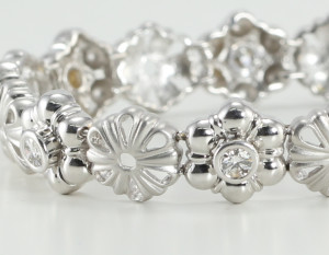 14kt white gold diamond bracelet part of a diamond flower jewelry collection