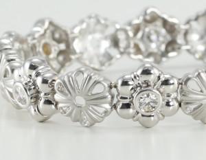 14kt white gold diamond bracelet part of a diamond flower jewelry collection
