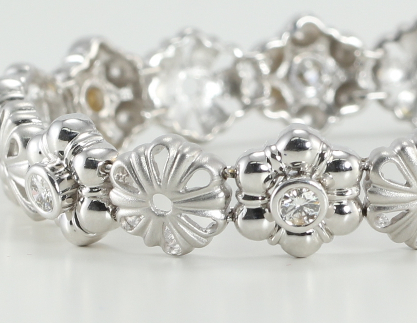 14kt bracelet diamond flower jewelry collection