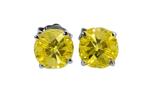 Yellow treated fancy colored earring studs