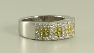 18 kt white gold ring with color enhanced fancy yellow princess cut & white round diamonds from the new 2017 collection