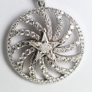 18k White Gold Invisible Setting Kite Cut Diamond Star & Pave Pendant
