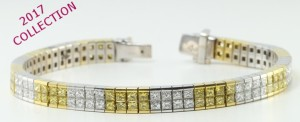 18 kt white and yellow gold set with princess invisible set diamond bracelet from the new 2017 collection