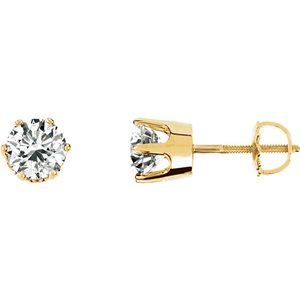 14 Karat Yellow Gold Round Diamond Stud Earrings (0.45 Ct, F Color, VS2 Clarity)