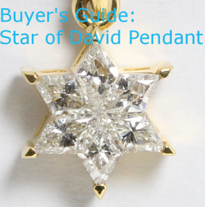 An 18 karat yellow gold rhombus cut diamond star of david pendant